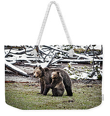 Grizzly Cub Holding Mother Weekender Tote Bag