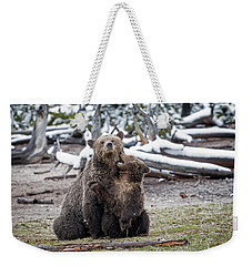 Weekender Tote Bag featuring the photograph Grizzly Cub Playing With Mother by Scott Read
