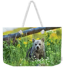 Weekender Tote Bag featuring the photograph Grizzly Cub Snow In The Flowers by Yeates Photography