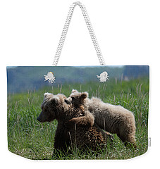 Grizzly  Mother And A Cub In Katmai National Park Weekender Tote Bag