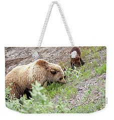 Grizzly Sow And Cubs Weekender Tote Bag