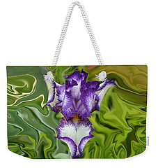 Weekender Tote Bag featuring the photograph Groovy Purple Iris by Rebecca Margraf