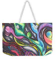 Groovy Series Titled My Hippy Days  Weekender Tote Bag by Chrisann Ellis