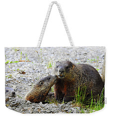 Weekender Tote Bag featuring the photograph Groundhog Kiss by Betty-Anne McDonald