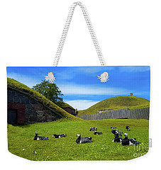 Group Of Birds Resting In The Bright Green Grass. Weekender Tote Bag