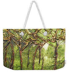 Weekender Tote Bag featuring the mixed media Grove Of Trees by Angela Stout
