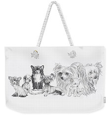 Weekender Tote Bag featuring the drawing Growing Up Chinese Crested And Powderpuff by Barbara Keith