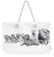 Weekender Tote Bag featuring the drawing Growing Up Chinese Shar-pei by Barbara Keith