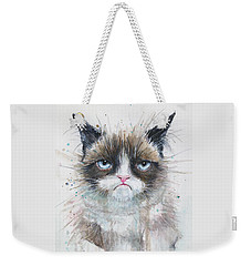 Grumpy Cat Watercolor Painting  Weekender Tote Bag
