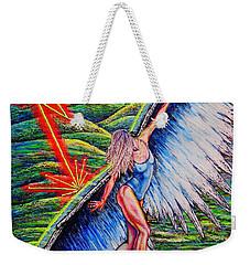 Weekender Tote Bag featuring the painting Guardian #2 by Viktor Lazarev