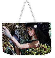 Weekender Tote Bag featuring the painting Guardian8 by Suzanne Silvir