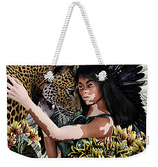 Weekender Tote Bag featuring the painting Guardian9 by Suzanne Silvir
