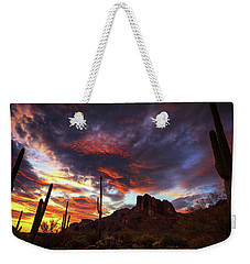 Weekender Tote Bag featuring the photograph Guardians Of The Mountain by Rick Furmanek