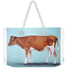 Guernsey Cow Standing Light Teal Background Weekender Tote Bag