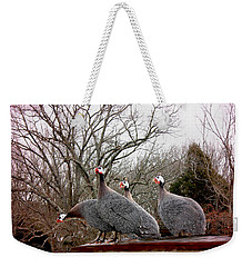 Weekender Tote Bag featuring the photograph Guinea Foul by Bonnie Willis