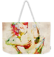 Guitar Lovers Embrace Weekender Tote Bag by Nikki Smith