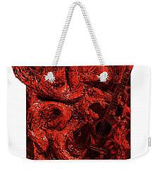 Guitar, Record, Red Weekender Tote Bag