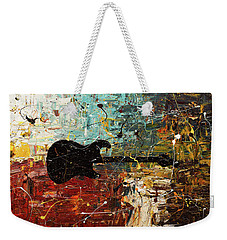 Weekender Tote Bag featuring the painting Guitar Story by Carmen Guedez