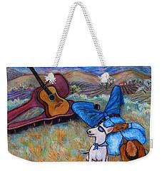 Weekender Tote Bag featuring the painting Guitar Doggy And Me In Wine Country by Xueling Zou