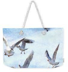 Gulls In Flight Watercolor Weekender Tote Bag