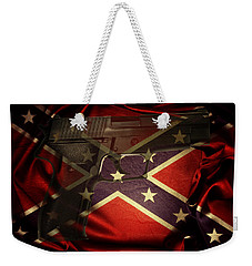 Gun And Confederate Flag Weekender Tote Bag