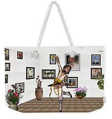 Weekender Tote Bag featuring the mixed media Digital Exhibartition _  Dancing Girl  by Pemaro