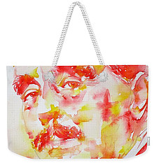 Weekender Tote Bag featuring the painting H. G. Wells - Watercolor Portrait by Fabrizio Cassetta