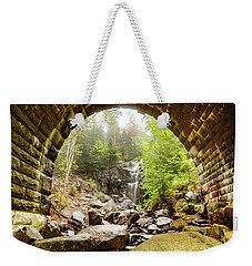 Weekender Tote Bag featuring the photograph Hadlock Falls Under Carriage Road Arch by Jeff Folger