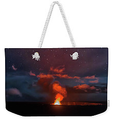Weekender Tote Bag featuring the photograph Halemaumau Crater At Night by Susan Rissi Tregoning