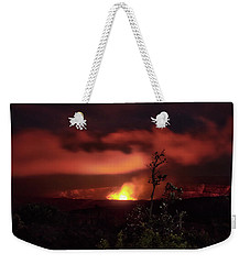 Weekender Tote Bag featuring the photograph Halemaumau Crater by Susan Rissi Tregoning