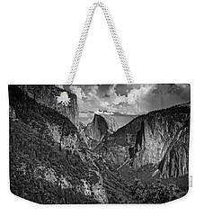 Half Dome And El Capitan In Black And White Weekender Tote Bag by Rick Berk