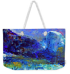 Weekender Tote Bag featuring the painting Half Dome Winter by Walter Fahmy