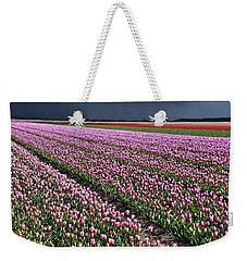 Half Side Purple Tulip Field Weekender Tote Bag