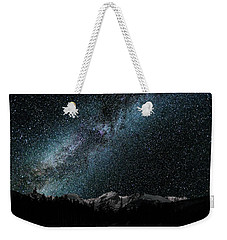Weekender Tote Bag featuring the photograph Hallet Peak - Milky Way by Gary Lengyel
