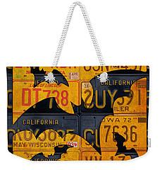 Halloween Bats Recycled Vintage License Plate Art Weekender Tote Bag by Design Turnpike