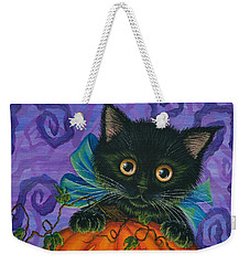 Weekender Tote Bag featuring the painting Halloween Black Kitty - Cat And Jackolantern by Carrie Hawks