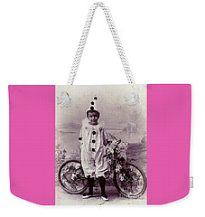 Halloween Pierrot Boy With Antique Bicycle Circa 1890 Weekender Tote Bag by Peter Gumaer Ogden