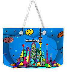 Weekender Tote Bag featuring the digital art Hamburg Popart By Nico Bielow by Nico Bielow