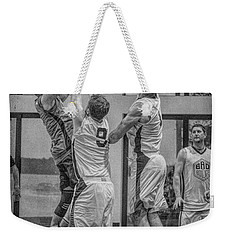 Weekender Tote Bag featuring the photograph Hamlin Elevating Over Defenders by Ronald Santini