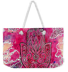 Weekender Tote Bag featuring the mixed media Hamsa by Julie Hoyle