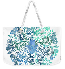 Weekender Tote Bag featuring the mixed media Hamsa Mandala 1- Art By Linda Woods by Linda Woods