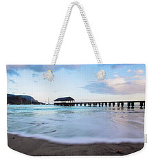 Weekender Tote Bag featuring the photograph Hanalei Bay Pier At Sunrise by Melanie Alexandra Price