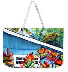 Weekender Tote Bag featuring the painting Hanalei Cottage by Marionette Taboniar