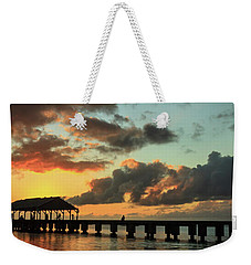 Hanalei Pier Sunset Panorama Weekender Tote Bag by James Eddy