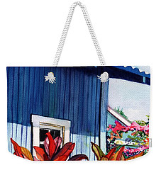 Weekender Tote Bag featuring the painting Hanapepe Town by Marionette Taboniar