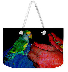 Hand Fed In Abstract Weekender Tote Bag