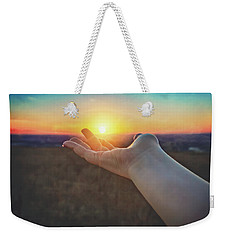 Weekender Tote Bag featuring the photograph Hand Holding Sun - Sunset At Lapham Peak - Wisconsin by Jennifer Rondinelli Reilly - Fine Art Photography