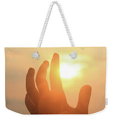Hand Reaching Fore The Sun Weekender Tote Bag