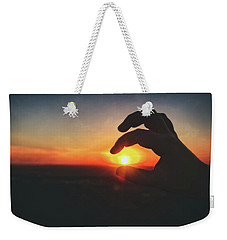 Weekender Tote Bag featuring the photograph Hand Silhouette Around Sun - Sunset At Lapham Peak - Wisconsin by Jennifer Rondinelli Reilly - Fine Art Photography