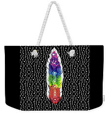 Weekender Tote Bag featuring the mixed media Hand Totem Feather by Kym Nicolas